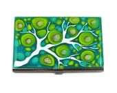 Custom Listing 8 day Pill Box Hand Painted Enamel in Teal and Lime Blossom Inspired
