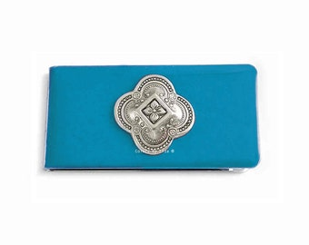 Quaterfoil Metal Money Clip Inlaid in Hand Painted Enamel Turquoise Opaque Glossy Finish Architecural Design Personalized and Color Options