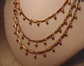 Victorian Style Antiqued Gold Necklace-Gold Necklace-Multi Layer Necklace-Vintage Style-Roadsidebridge