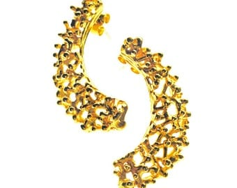 Twiggy gold plated crescent earrings