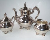 Silver Plate Silverplate 6 Cup Teapot, Towle  Covered Sugar and Creamer, Elegant Serving Set, Wedding Set, Gift,
