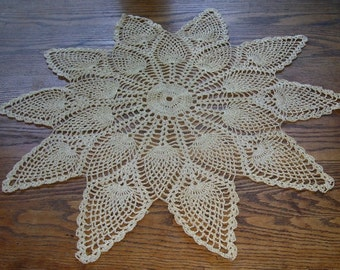 Large Hand Crocheted Pineapple Design Doily,  Gold Thread, Ecru Cotton and Gold, Parlor Table, Home Decor, Holiday Decorating, Elegant Doily