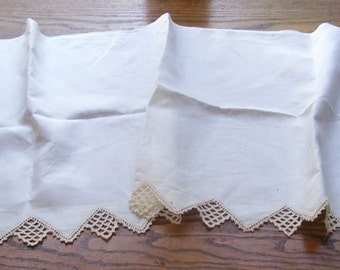 Antique White Fireplace Scarf with Crocheted Edge, Fire Place Runner, Table Runner, Fine Cotton Fireplace Mantel Scarf, Home Decor