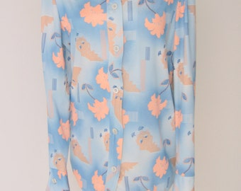 Vintage Blue Polyester Butterfly Button Up Blouse Medium