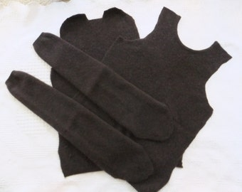 Felted Cashmere Sweater Remnants Dark Brown Recycled Wool Fabric Sewing Craft Supplies Upcycle