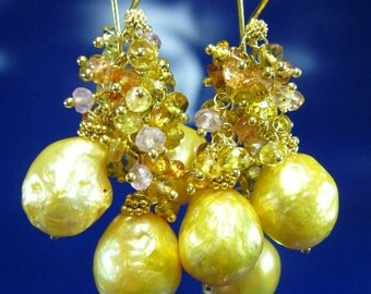 Gold South Sea Pearl Sapphire Wire Wrapped Gold Earrings