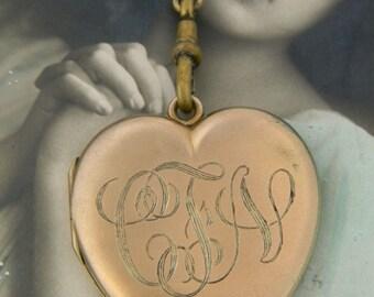 Antique Heart Locket Necklace, Large Gold Filled Locket, Victorian Locket, Monogrammed Locket, Engraved Locket, Huge Heart Locket