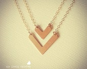 NEW - Two Tiny and Small Chevron Charm Necklaces - Gold Filled - Long Short Layering Necklace - Valentines Gift Dainty Minimal Necklace