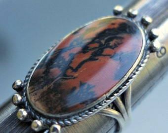 Superb Old Petrified Wood Sterling Silver Navajo Ring
