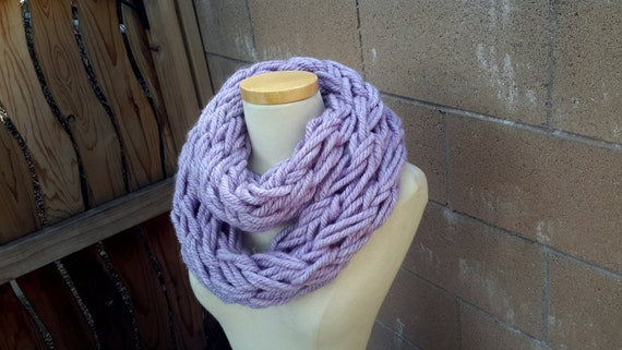 Lavender Loop Scarf | Light Purple Hand Knitted Chunky Cowl