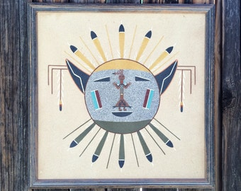 "Pair of vintage 16 x 16"" signed Navajo Alfred Watchman sand paintings, framed Native American Indian sand paintings, Kachina image art"
