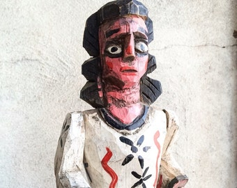 "Vintage 14"" religious carved wood saint statue from Guatemala, carved angel statue, religious folk art, Catholic art, primitive decor"