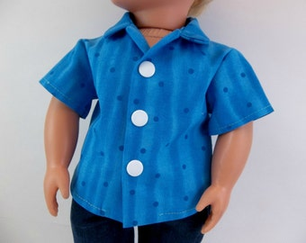 18 inch Boy Doll  Cotton Shirt Turquoise Fits American Girl Doll Clothing Toys