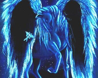 Starilit Stroll - Pegasus art print, Pegasus fantasy art, mythological creature, winged horse, blue Pegasus,