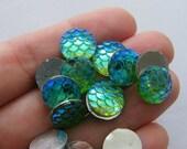 BULK 100 Mermaid scale green cabochon seal resin
