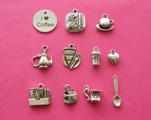 The I love coffee collection - 11 different antique silver tone charms
