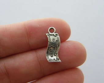 8 Paper money bank note  charms antique silver tone WT227