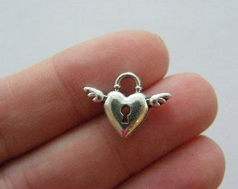 8 Heart wing lock charms antique silver tone H65