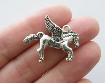 BULK 10 Pegasus charms antique silver tone A561