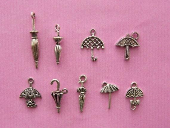 The Umbrella Collection - 9 antique silver tone charms