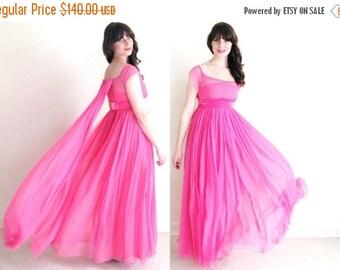 ON SALE Pink Prom Dress / 60s Chiffon Dress / Grecian Goddess Dress