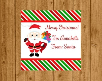 Santa Claus Favor Tag Digital, Santa Claus Gift Tag, Christmas Gift Tag, Kids Santa Tag, Instant Download