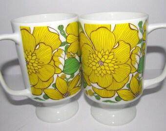 Vintage Goodwood Coffee Tea Pedestal Mugs Mid Century
