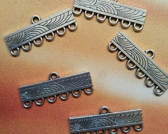 15 pcs Antique Silver Connectors, End Bar Link, Earring Chandelier, bracelet connectors, earring connectors, 6 to 1 connector, Rectangle bar