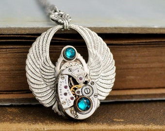 TIME FILES  winged steampunk vintage 19 jeweled Elgin watch movement necklace in silver