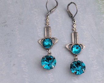 Silver Art Deco, antiqued silver vintage Art Deco style earrings with blue zircon Swarovski glass jewels, long dangler
