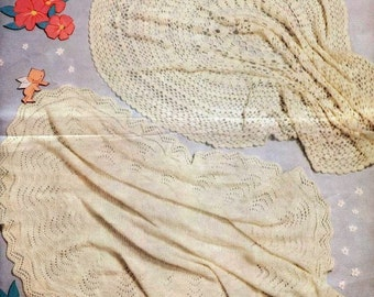 Baby Knitting and Crochet PATTERN - Shawls in 3 ply Christening Heirloom Blessing Day  - One Knit One Crochet PDF Download