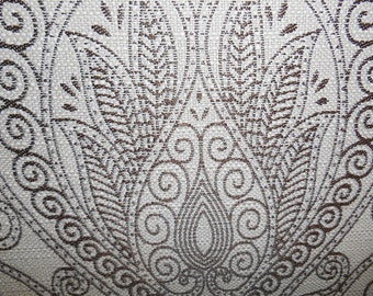 Warm Brown TRADITIONAL DAMASK On  Almond Woven Linen Upholstery Fabric,  16-49-27-0413