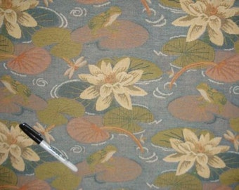 SUNBELLA Blue Floral LILY PAD Outdoor Tapestry Upholstery Fabric,36-60-15-0211
