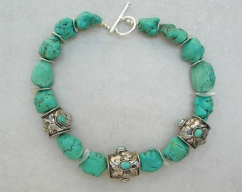 BEAUTIFUL Chunky Turquoise Choker, Genuine Natural Turquoise, Tibetan Sterling Silver Beads Inlaid with Turquoise, by SandraDesigns