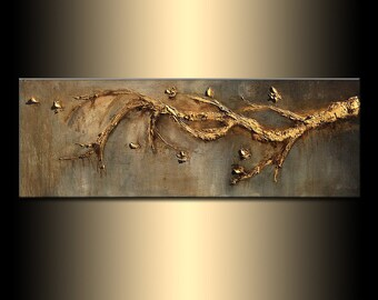 Original Contemporary Rich Textured Modern Metallic Gold Tree Branch Abstract Painting by Henry Parsinia 48x18