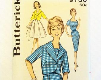 1960s Dress pattern, sheath dress wiggle skirt full skirt, jacket uncut pattern, retro vintage sewing pattern Butterick 9730 size 14 bust 34