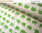 SuperBowl Sale Daiwabo Japan Fabric, Tip Top Elephant Walk Green on white, Cotton canvas, 1/2 Yard