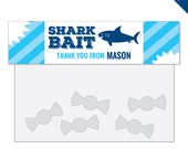 Shark Party - Personalized DIY printable treat bag label