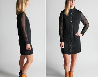 Vintage Mod Little Black Dress Dress - Black Shift Dress 1960's Mini Long Sleeves Sheer Turtleneck Straight Polyester 60's - Size Medium