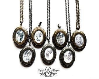 Woodland locket- locket- necklace- April Alayne - bridesmaids- fox- owl-native american- horse- sugarskull