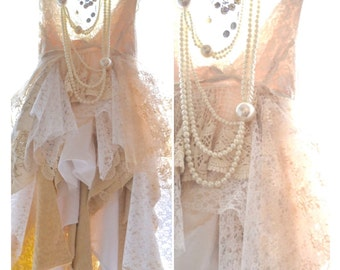 Boho wedding dresses, Nude lace Sundress, Stevie Nicks Style Shabby wedding, Bridal, Wedding dress CUSTOM Bridal Dress, True rebel clothing
