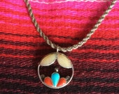 Vintage Zuni Signed Mother of Pearl Coral Turquoise Necklace
