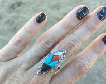 Vintage Zuni Sterling Silver Onyx Mother of Pearl Turquoise Coral Ring