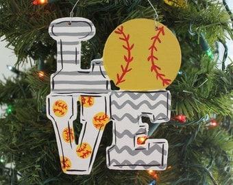 Handpainted Softball Ornament
