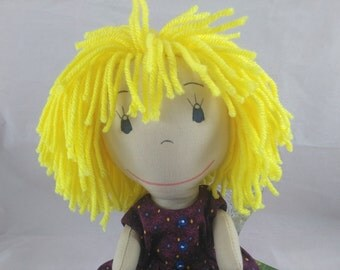 READY TO SHIP Rag doll with yellow hair, sand skin tone,Removable Clothes,Cloth Doll,Plush Toy,Soft Doll,Fabric Doll,Stuffed Doll