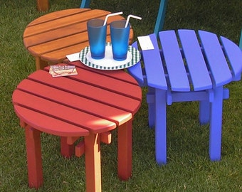 Colorfully Stained Pine Wood Side Table End Table - Brighten Up Your Patio and Garden! - 12 Stain Colors - Handcrafted by Laughing Creek