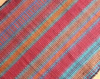 Kitchen Rag Rug in Deep Reds / Kitchen Rug  2' x 3' / Bathroom Rug / Handmade Rug / Southwest Rug
