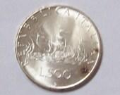 Ships of Columbus Italian Silver Coin 500 Lire 1966