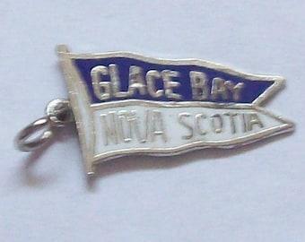Glace Bay Nova Scotia Sterling Silver Charm Pennant Cape Breton NS