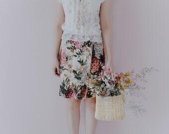 Vintage 1970's tapestry floral wrap skirt